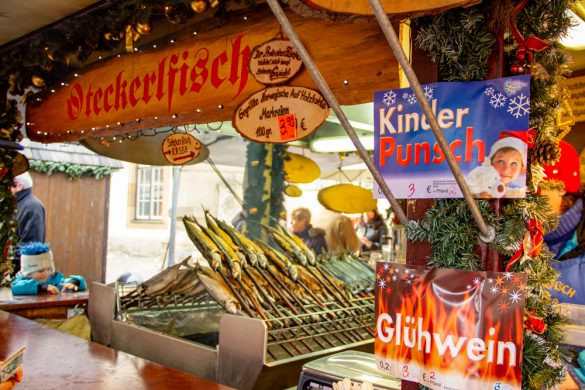 Picture of Fish on Skewers at Stuttgart Weihnachtsmarkt Christmas Market Germany