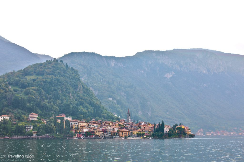 Varenna town and landscape Lake Como Italy